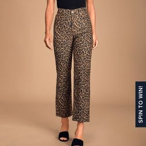 Ribcage Leopard Print Corduroy Jeans